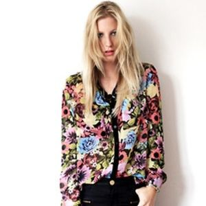 Neon Floral Sheer Blouse